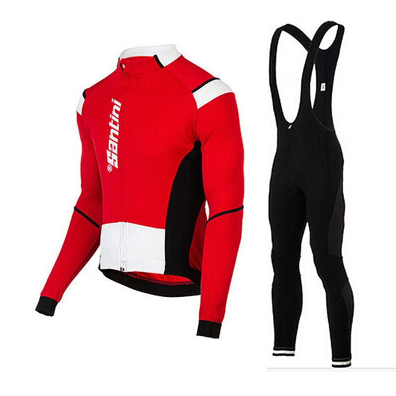 2015 Santini UCI Long Sleeve and Cycling bib Pants Cycling Kits Strap IXE93hG